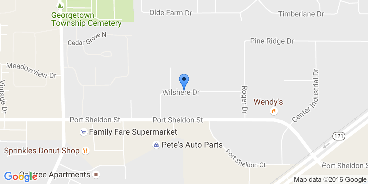 Google Map of 2464 Wilshere Dr, Jenison, MI 49428